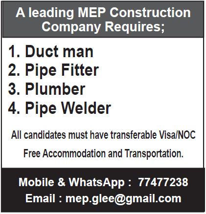 MEP Construction company requires