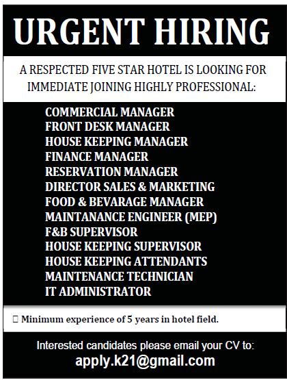 vacancy at five star hotel