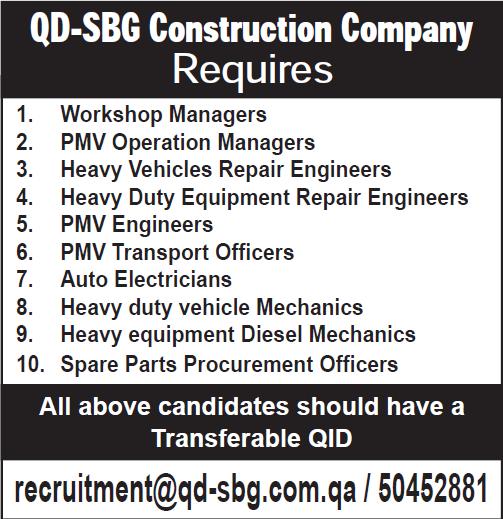 QD-SBG Construction Company Requires