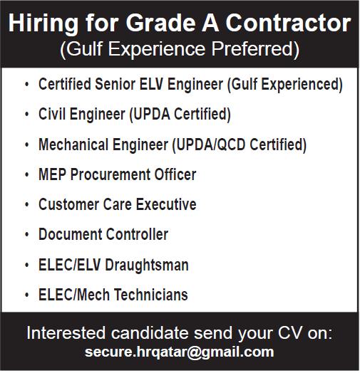 hiring for grade A contractor