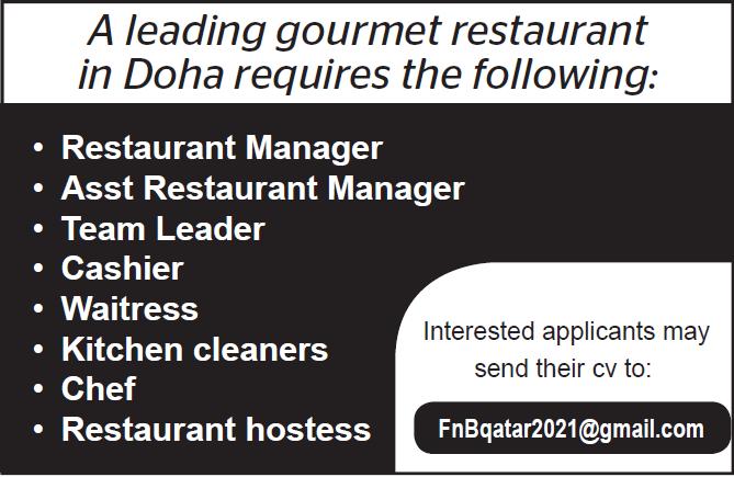 job at gourmet restaurant
