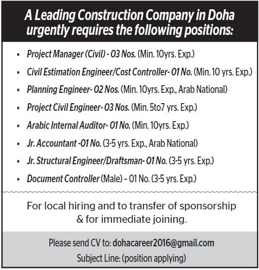 job at leading construction company in doha