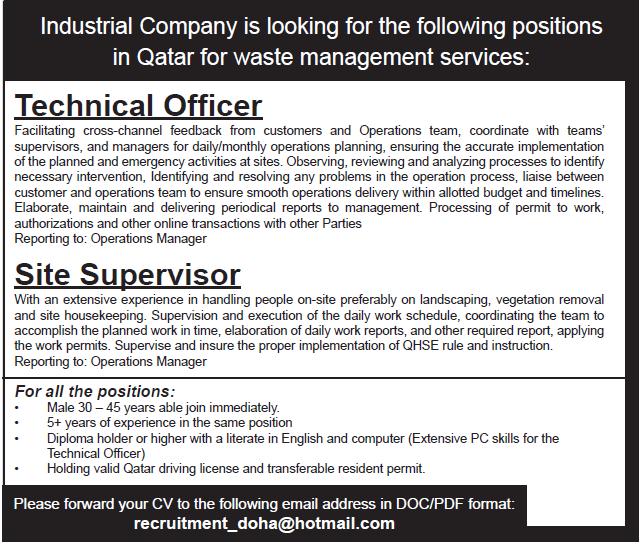 technical offier site supervisor