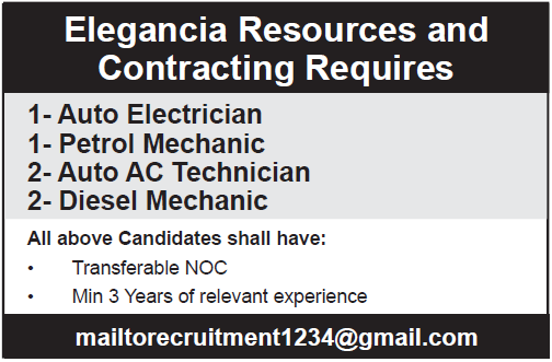 Elegancia Resources and Contracting Requires