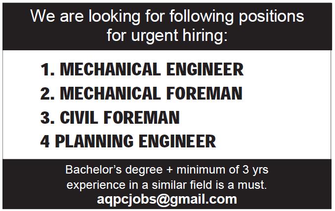 engineer and foreman neede