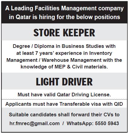 storekeeper & light driver