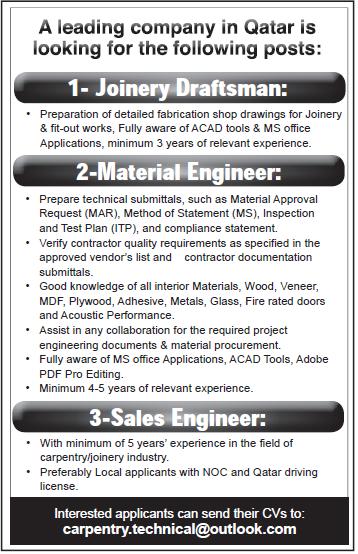 vacancy at leading company in Qatar