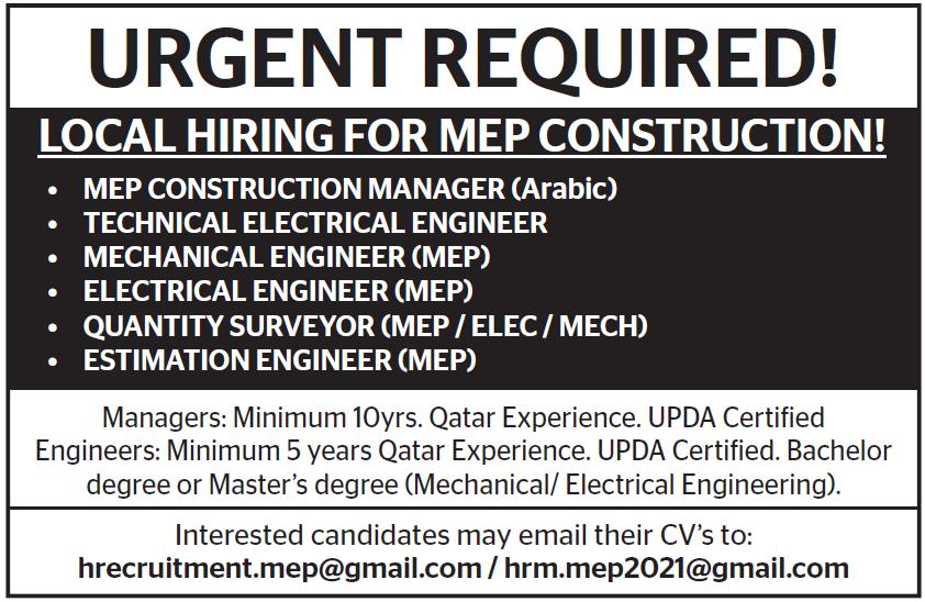 hiring for mep construction