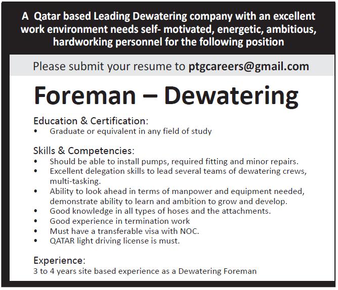 foreman- dewatering