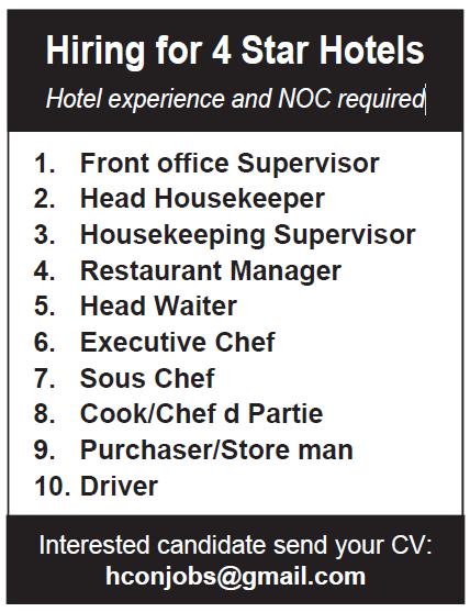 hiring for 4 star hotels