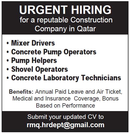 urgent hiring for construction company