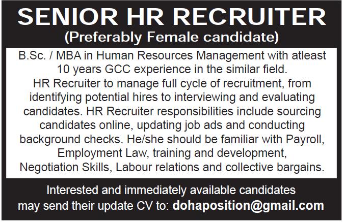 senior hr recruiter
