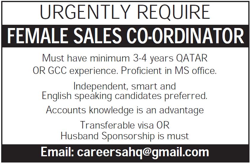 Female Sales Co-ordinator
