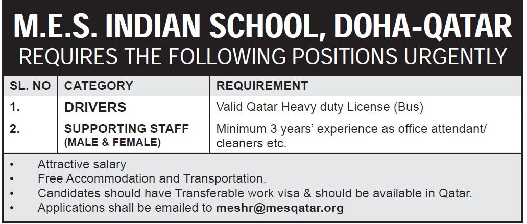 job vacancy at indian school doha