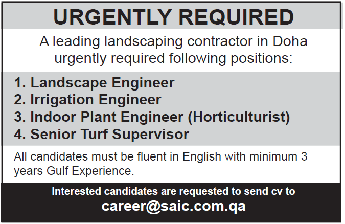 landscaping contractor in Doha urgently required following positions
