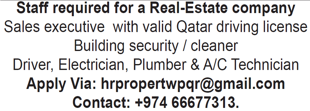 staff required for real estate company